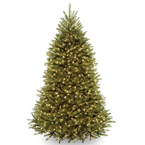Pre Lit Christmas Trees Amazon - National Tree 7.5 Foot Dunhill Fir Tree with 750 Clear Lights, Hinged (DUH-75LO)