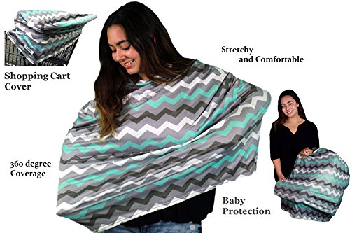 Wobble Baby Nursing Cover and Car seat canopy, for breastfeeding and baby protection, Hypoallergenic and with UV protection, (Grey Paradise Blue) by Wobble Baby (Image #4)
