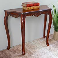 International Caravan 3875-IC Furniture Piece Carved Four Leg Scalloped Wall Table, 0