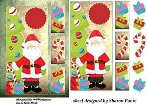 Oro Tarjeta de Navidad Santa ventana frontal 4por Sharon Poore
