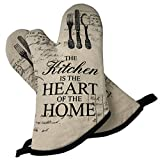 GREVY Cotton Canvas Oven Mitts 13'' with a Greeting Card(Kitchen-Heart-Home)