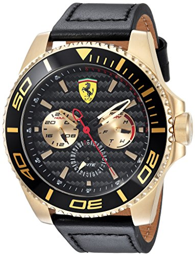 Scuderia Ferrari Men's 'XX KERS' Quartz Gold-Tone and Leather Casual Watch, Color:Black (Model: 0830419)