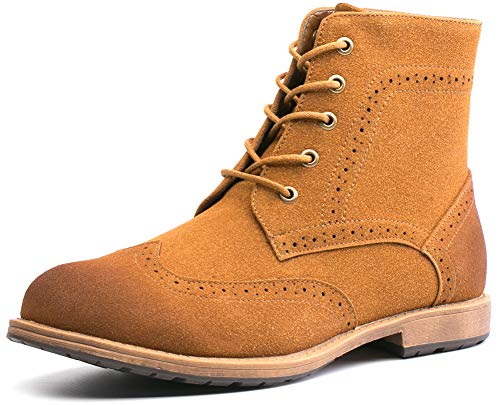 Men's Suede Oxford Derby Boots Wingtip Brogue Dress Casual Ankle Boots (12(D,M) US,Brown)