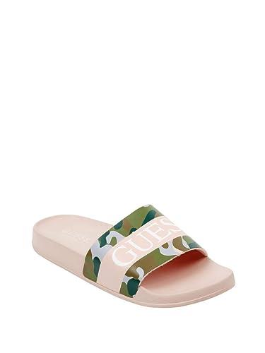 7d84fb43766 GUESS Factory Women s Warrick Logo Slide Sandals Camo