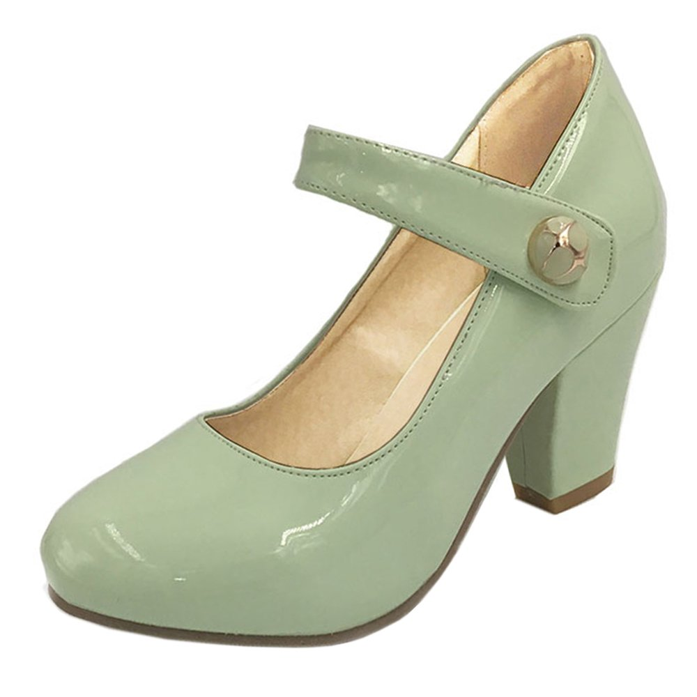 128fe3d83c2 RAZAMAZA Women Elegant Block High Heel Pumps Shoes Mary Jane Shoes (43 EU