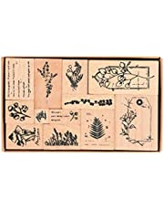 Wooden Rubber Stamps, NogaMoga 12pcs Plant Patterns Rubber Stamp with 11 Sizes, Decor Stamps for Card, DIY, Paper Craft, Bullet Journal, Photo Album, Hand Book, Planner, Scrapbooking…