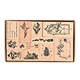 Wooden Rubber Stamps, NogaMoga 12pcs Plant Patterns