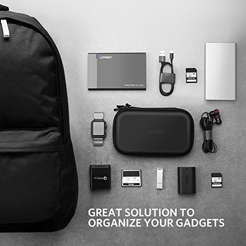 UGREEN Hard dr predicament Shockproof External Hard dr container go Electronics Organizer Carry predicament for 25 Inch Hard dr from WD Toshiba Seagate Samsung Hitachi and essentia similar to SD Card USB Cable energy Bank Earphone Black Bags Cases