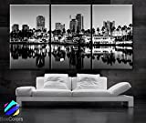 Original by BoxColors Large 30''x 60'' 3 Panels 30''x20'' Ea Art Canvas Print Long Beach Skyline Wall Home (Included Framed 1.5'' Depth)
