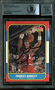 76ers Charles Barkley Signed Card 1986 Fleer RC #7 Auto Graded 10! BAS Slabbed