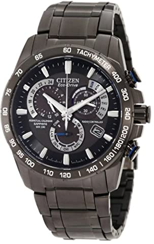 Citizen Eco-Drive Men's AT4007-54E Perpetual Chrono A-T Black Ion Plated Stainless Steel Watch - Citizen Eco Drive Mens Chronograph