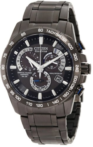 Citizen Eco-Drive Men's AT4007-54E Perpetual Chrono A-T Black Ion Plated Stainless Steel (Black Ion Stainless Steel Watch)