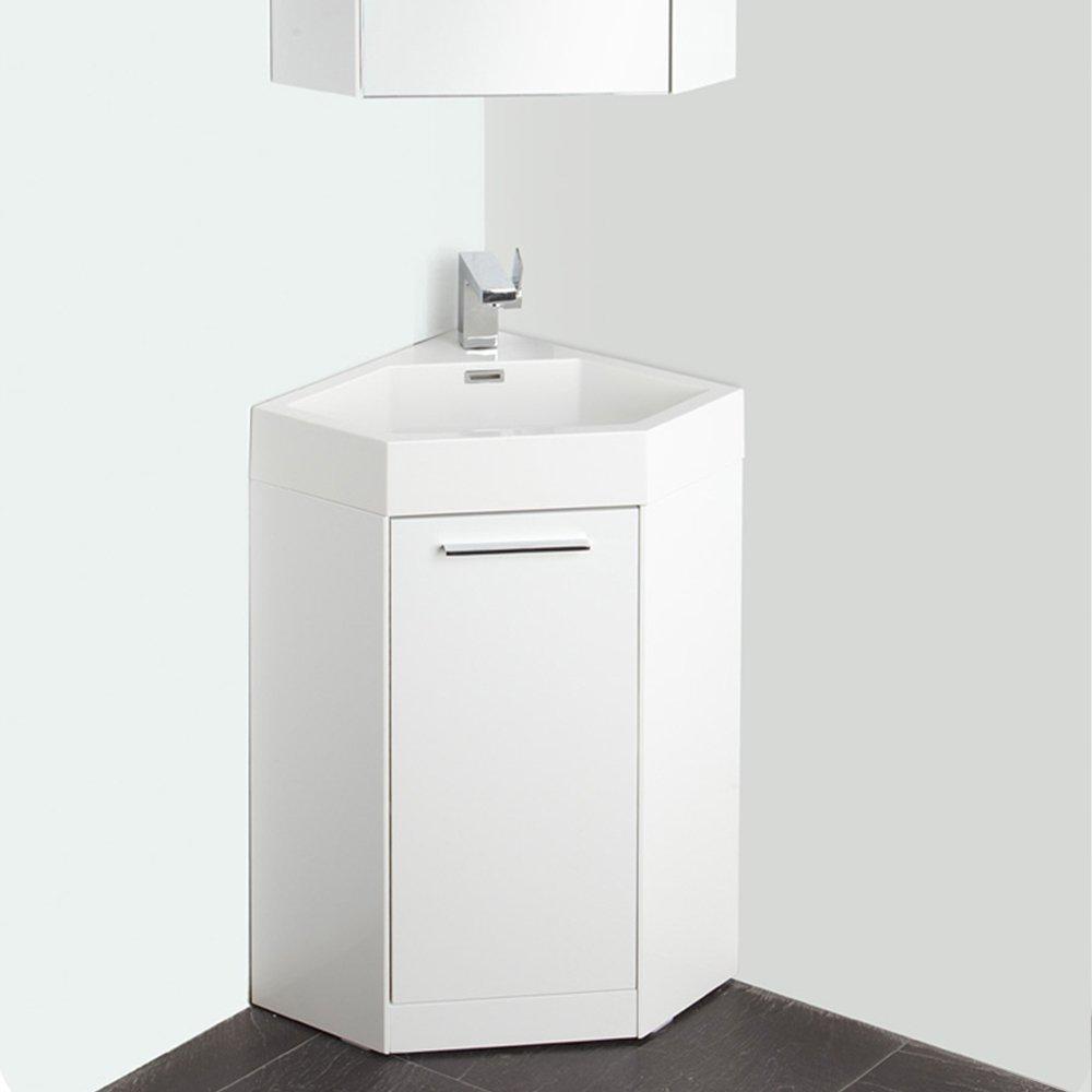 Fresca Bath FVNWH Coda Modern Corner Bathroom Vanity - 18 inch bathroom vanity with sink for bathroom decor ideas