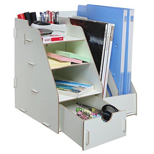 All-in-One Beige Wood Desktop Organizer Rack w/ 2 Magazine Holder, Drawer, Shelf Cubbies & Office Supply Holder Photo #5