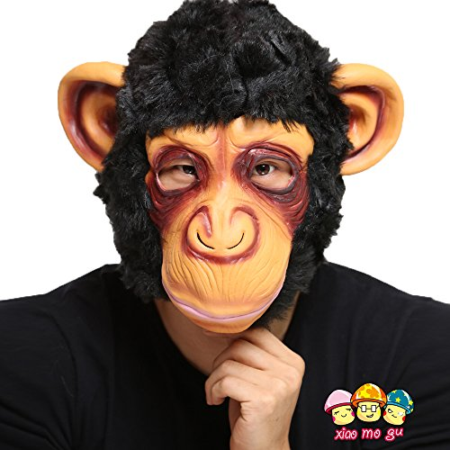 [XIAO MO GU Latex Halloween Costume Masks for Adults and Kids Animal Head Mask Monkey] (Monkey See Monkey Do Costume)