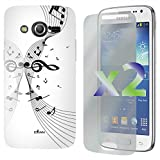 Exian Samsung Galaxy Core LTE 2-Screen Guard Protectors and Musical Notes White TPU Case, 1-Pack, Retail Packaging