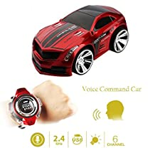 Buenotoys Rechargeable Voice Control Toy Vehicle Race Car Voice Command by Smart Watch Creative Voice-activated Remote Control RC Car - Red