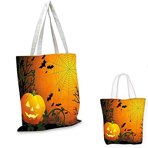 Spider Web royal shopping bag Halloween Themed Composition with Pumpkin Leaves Trees Web and Bats canvas beach bag Orange Dark Green Black. -