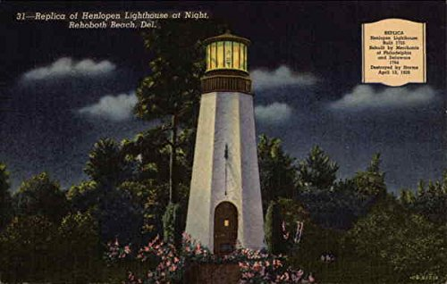 Replica of Henlopen Lighthouse at Night, Rehoboth Beach, Del Rehoboth Beach, Delaware Original Vintage Postcard