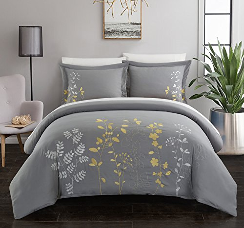 Chic Home Kaylee 3 Piece Duvet Cover Set Embroidered Floral Design Backing Zipper Closure Bedding - Decorative Pillow Shams Included, King, Yellow (King Duvet Cover Set Yellow)