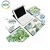 iPad 9.7 2018/2017 Keyboard Case [Tree Leaves Style] Slim Leather Kickstand Detachable Flip Folio Wireless Bluetooth Keyboard Cover for iPad 6th/5th Generation (Color 4)