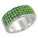 Sterling Silver Peridot CZ Ring 5/16 inch, size 10