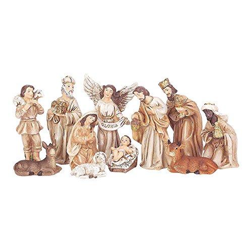 Dicksons Small Traditional Nativity Scene 9 x 3 Resin Stone Christmas Figurine, Set of 11 (Stone Scene Nativity)