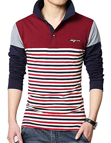 XTAPAN Men's Casual Long Sleeve Slim Fit Stripe Polo Cotton T Shirt US S=Asian XL 3919 Red