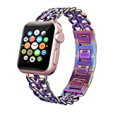 Apple Watch Band 38mm Women, Swees iWatch Jewelry Jewels Dressy Cowboy Style Stainless Steel Metal Link Replacement Bands Wristband for Apple Watch Series 2 (2016) / Series 1 Women Girls, Colorful