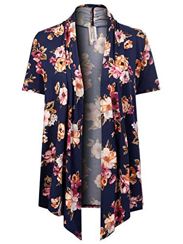 - MixMatchy Women's [Made in USA] Solid Jersey Knit Short Sleeve Open Front Draped Cardigan (S-3XL) Navy Flower Print 2XL