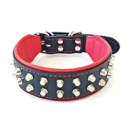 """Bestia """"Rocky Studded Dog Collar. Hand Made. French Bulldog to German Shepherd, 1 or 2 inch Wide, 100% Leather, Soft Padded, 7 Sizes, Made in Europe"""