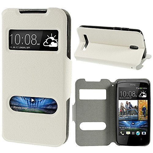 JUJEO Hollow Double Window View Litchi Skin Leather Flip Cover with Stand for HTC Desire 500 506E Zara - Non-Retail Packaging - White