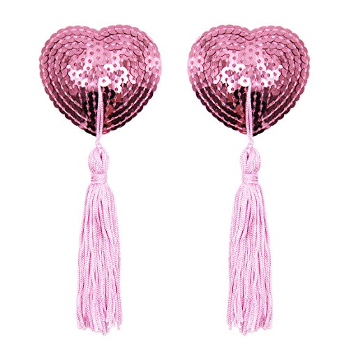 Shaped Tassel (Reusable Adhesive Nipple Cover,Shiny Sequin Silicone Heart-Shaped Breast Pads Pasties Bra with Tassel)