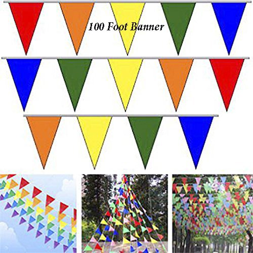 Adorox 100 Foot Multicolor Pennant Banner Birthday Party Decorations Weather Resistant (Multi-Colored (1 (Multi Color Pennant)