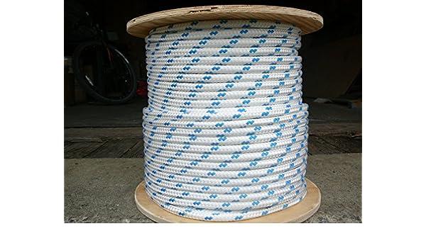 "Dacron Sailboat Rope 1//2/"" x 200/' White//Blue NovaTech XLE Halyard Sheet Line"