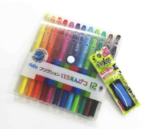 Pilot Frixion Color-pencil-like Erasable Gel Ink Pen - 0.7 Mm - 12 Color Set /Value Set Which Attached the Eraser Only for Friction(with Values Japan Original Discription of Goods)