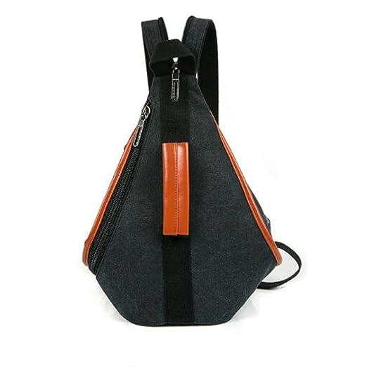 9dd67cb6078d Sling Bag Canvas Multifunction Leisure Travel Shoulder Backpack Crossbody  Bag (Black)