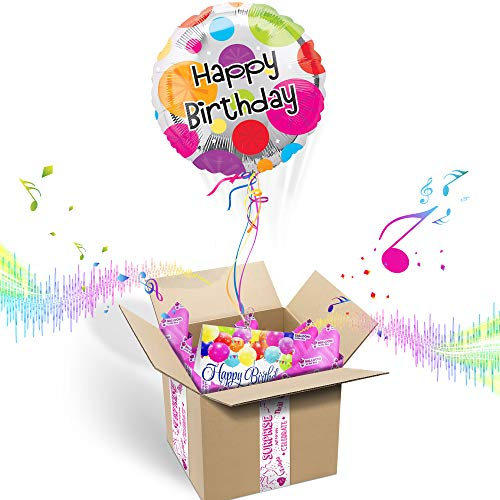 - Happy Birthday Inflated Helium Balloons Gift Package   Includes Coordinating Customizable Greeting Card   Floats Out of The Box & Plays A Happy Birthday Jingle When Opened