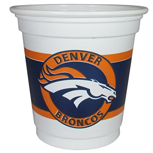 NFL Siskiyou Sports Denver Broncos Plastic Game Day Cups, 18 Count, (3 oz) White