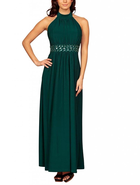 High-Neck Full Length Halterneck Maxi Rhinestone Beaded Formal Evening Dress UK