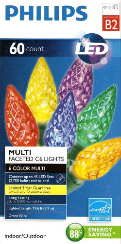 Multi Faceted Light - 60ct Multi LED Faceted C6 String Lights Philips