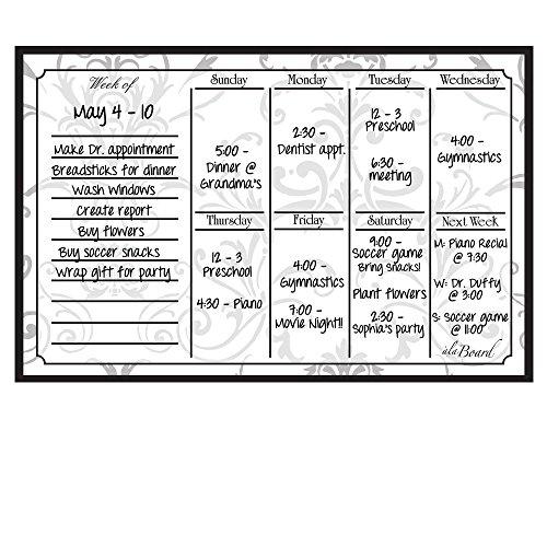 Perpetual Calendar Weekly (AlaBoard Grey Damask Magnetic Dry Erase Weekly Calendar)