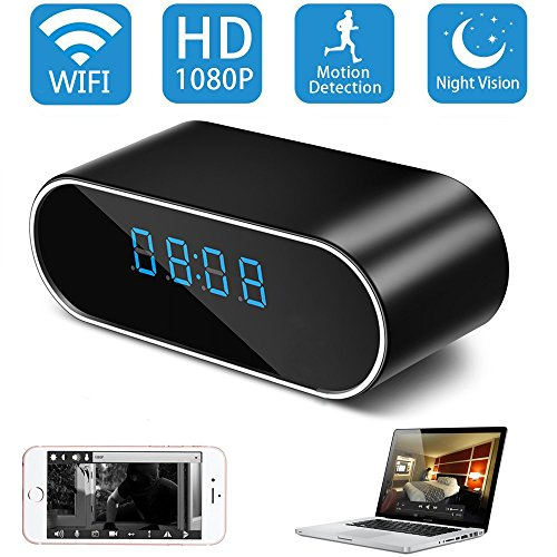 Mini Desk Clock Dvr - Hidden Camera in Clock,TenGong Spy Alarm Clock WiFi Hidden Cameras 1080P Video Recorder Wireless IP Camera for Indoor Home Security Monitoring Nanny Cam with Night Vision and Motion Detection