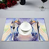 InterestPrint Watercolor Colorful Arabian Horse Animal Portrait Fabric Placemats Set of 6 Heat-resistant Place Mats for Dining Table Stain Resistant Washable Table Mats, 12''x18''