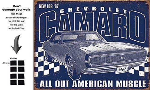 Shop72 - Retro Tin Sign Camaro - 1967 Muscle Metal Sign Poster Garage Sign - with Sticky Stripes No Damage to Walls