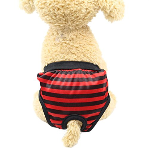 (Sunward Reusable Female Dog Diaper Durable Doggie Diapers Pants Sanitary Pants Underwear Panty for Pet Dog Puppy Teddy (Red, M))
