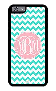 linJUN FENGiZERCASE iPhone 6 Case Monogram Personalized Turquoise Chevron with Light Pink Circle Pattern RUBBER CASE - Fits iPhone 6 T-Mobile, AT&T, Sprint, Verizon and International (Black)