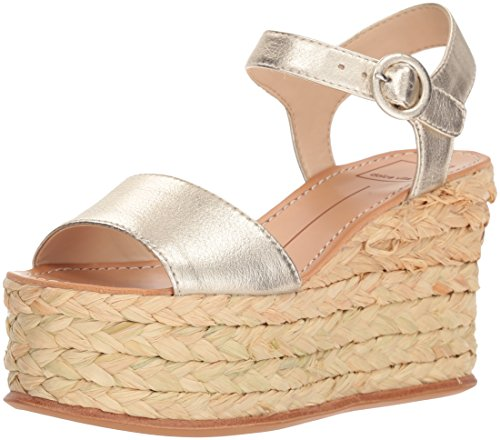Dolce Vita Women's Dane Wedge Sandal, Light Gold Leather, 9.5 M US by Dolce Vita
