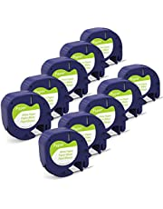 10-Pack LetraTag Refills Replace for Dymo Letratag Label Tape 12mm Black on White, Dymo Letratag Refills 91330 Paper Label Tape Work with Dymo LT-100H LT-100T QX50 Label Maker, 1/2 Inch x 13 feet