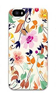 iCustomonline Abstract Colorful Flowers Designs Case Cover for iPhone 5 5S 3D PC Material